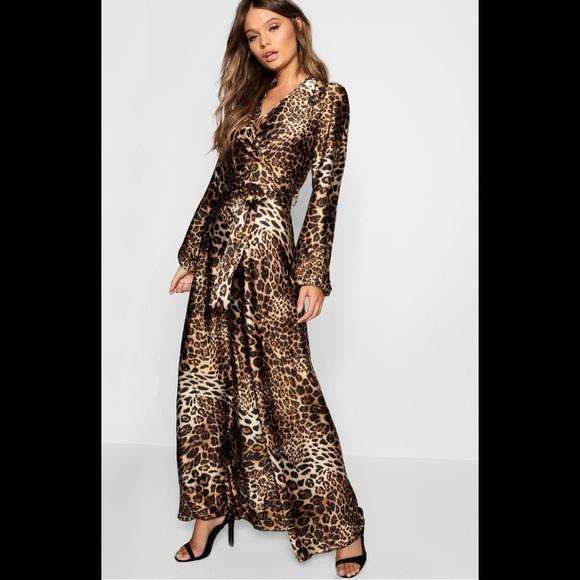 bafb8b50d52 Boohoo Dresses | Satin Leopard Print Maxi Dress | Poshmark